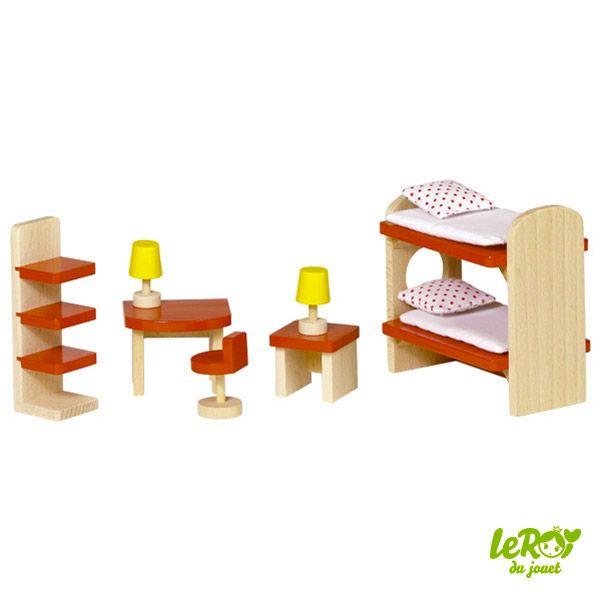 Mobilier pour maison de poupées en bois ou Playmobil Chambre des - jeux de construction de maison en 3d