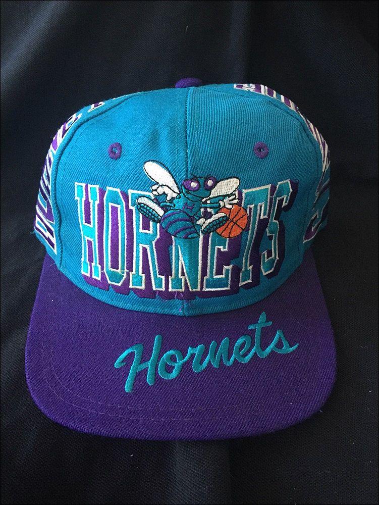 Vintage Deadstock 90 s NBA Charlotte Hornets Super Script Block Snapback Hat  by RackRaidersVtg on Etsy f9f810a9e12