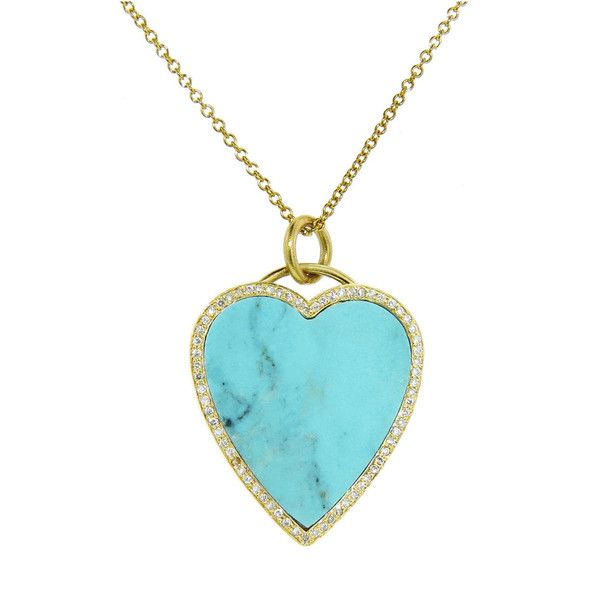 Jennifer Meyer Womens Diamond & Turquoise-Inlaid Heart Pendant Necklace 3WYzQO43