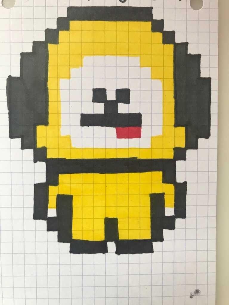 Pixel Art Bt21 Chimmy Dessin Pixel Pixel Art Dessin Manga