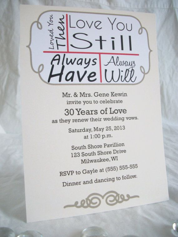 70 Love You Still Vow Renewal Invitations Birthday Holiday