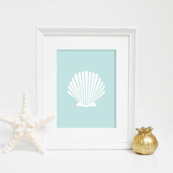Mint Scallop Shell Beach Art Print