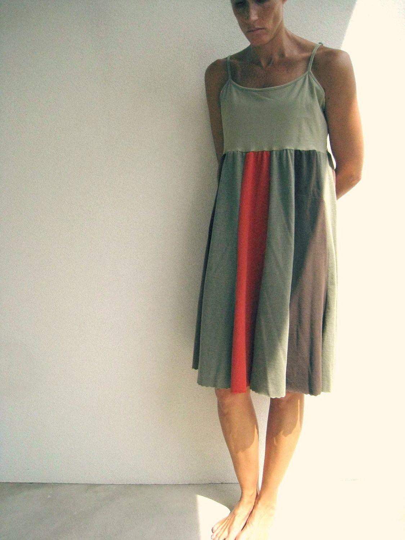 711329917ad Tank Top Dress   M - L   Olive Green Chocolate Brown Burnt Orange ...