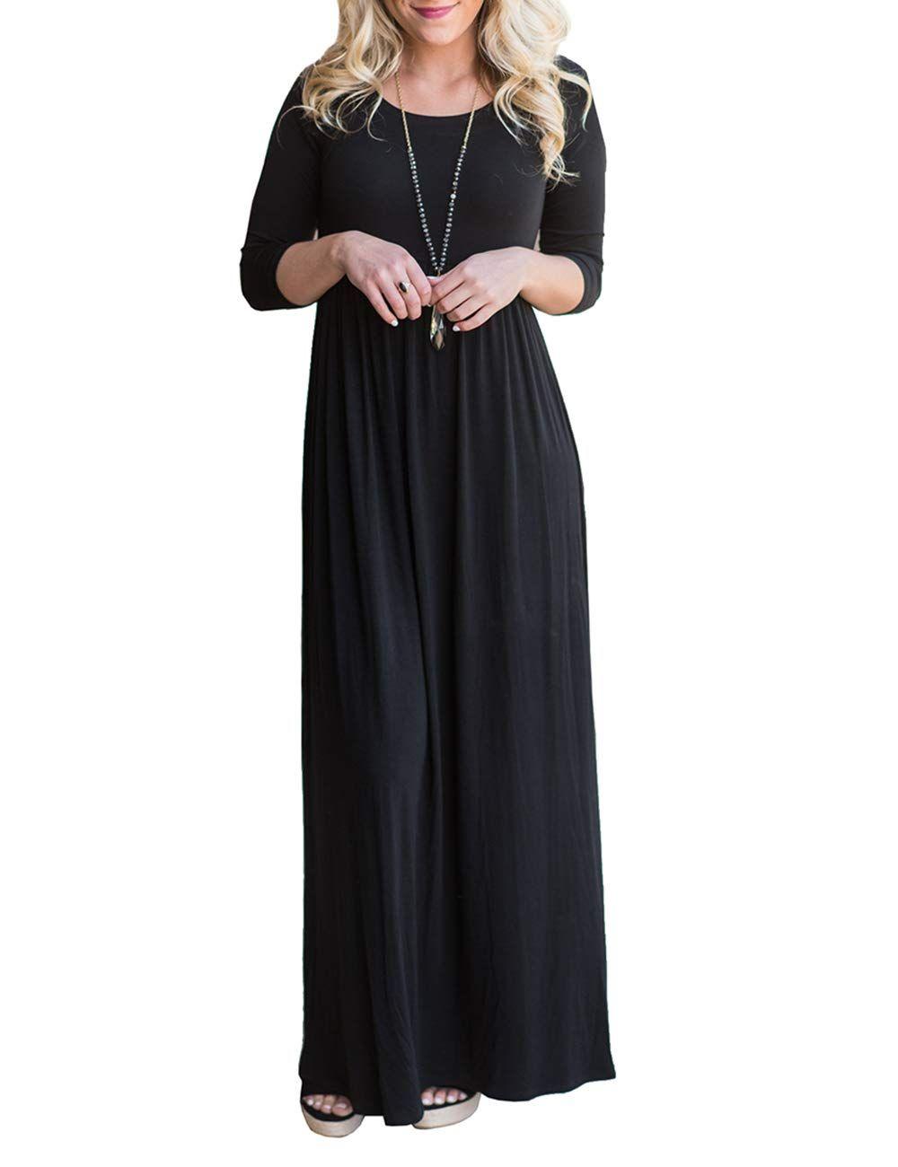 Dunea Women S Maxi Dress Floral Printed Autumn 3 4 Sleeve Casual Tunic Long Maxi Dress Dresses Dr Party Dress Long Sleeve Long Maxi Dress Womens Maxi Dresses [ 1300 x 1000 Pixel ]