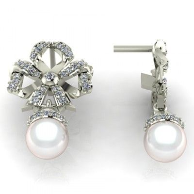 Beautiful Diamond Stud Earrings With Pearl By Deesigns Http Jewelrythis