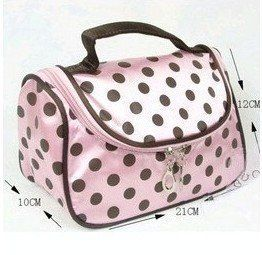 191ba309edf7 Amazon.com   BDS - Dot Travel Toiletry Cosmetic Makeup Bag Organizer (Pink  with Black Brown Dot)   Beauty