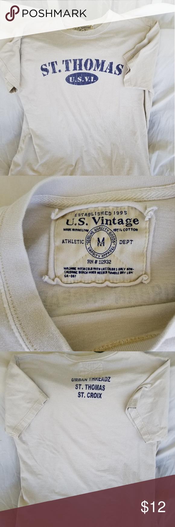 Usvi T Shirt St Thomas Usvi T Shirt Size Medium In Gently Used Condition Us Vintage Shirts Tees Short Sleeve Vintage Shirts Clothes Design T Shirt