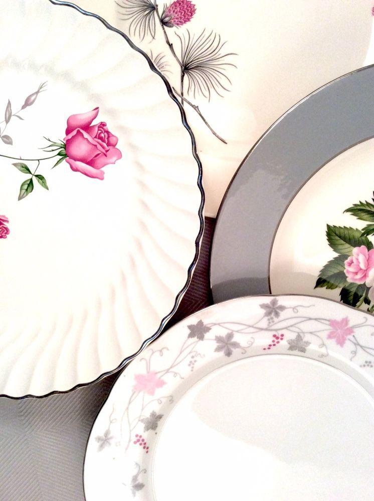 Mismatched Vintage China Dinner Plates Curated Set of 4 | eBay  sc 1 st  Pinterest & Mismatched Vintage China Dinner Plates Curated Set of 4 | eBay ...