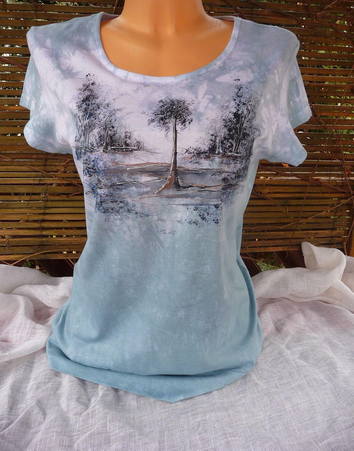 ab21085fe39 dámské triko s malbou krajiny...L Ručně malované a batikované dámské tričko