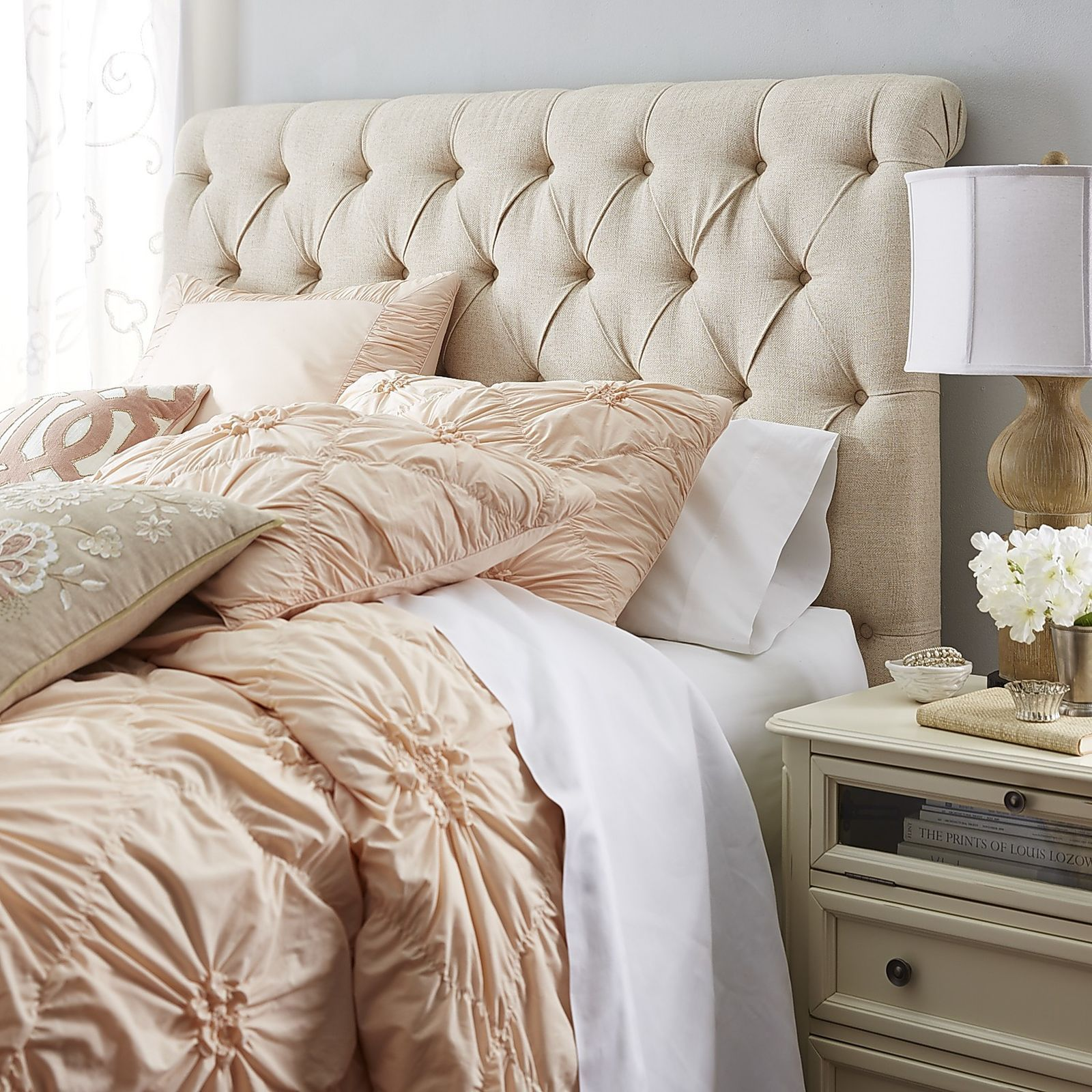 Audrey Upholstered Flax Headboard Apartment Bedroom Decor