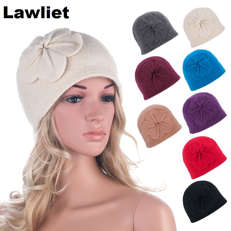 ff6c5ec7769 Vintage Style Winter 100%Wool Womens Hats Bucket BeaniE Hat With Flower  Design Wholesale Warm Hats for Women Winter Ski CapA289
