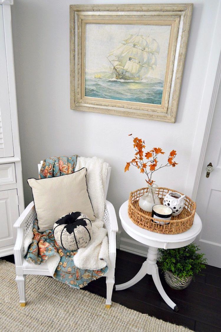 deko fur wohnzimmertisch, herbst » herbst deko mit tablett auf dem wohnzimmertisch – 20, Design ideen