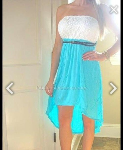 Dress Turquoise Cow Boots White High Low Belt
