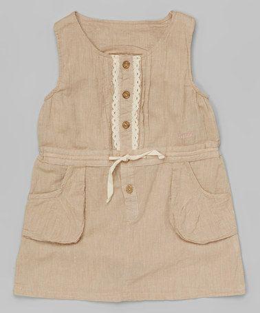 Look what I found on #zulily! Light Beige Lace Pocket Tunic - Toddler & Girls #zulilyfinds