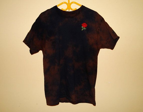 T Rose Embroidered Wash Acid ShirtTumblr AestheticTrippy 2WE9HYbeDI