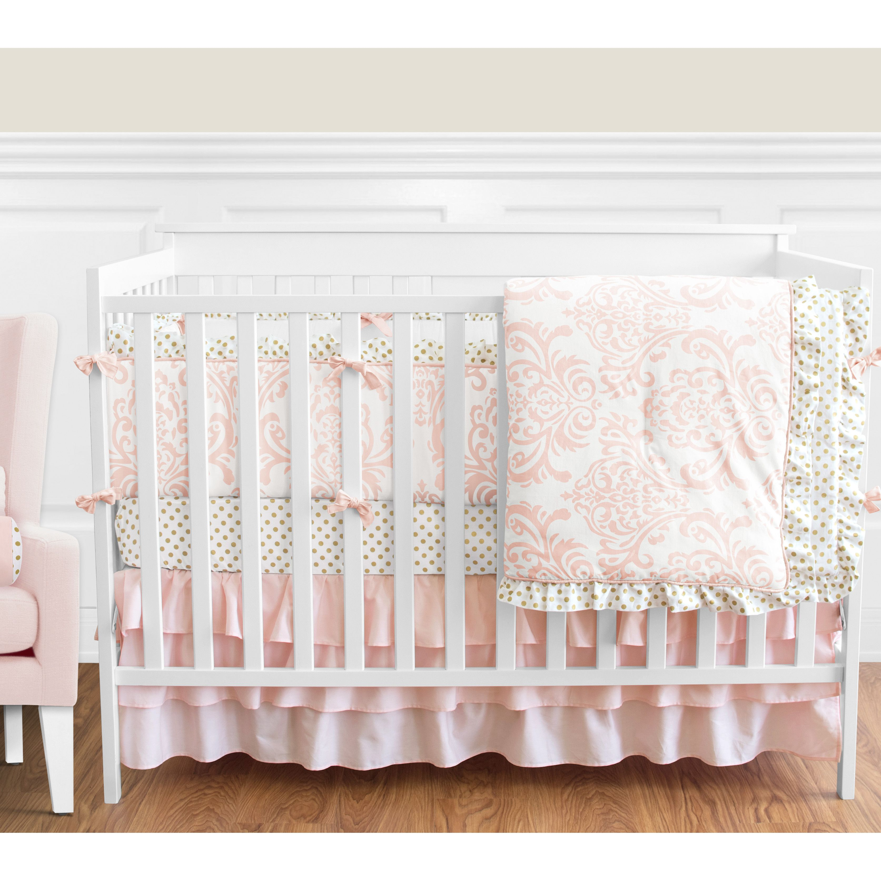 embossed ready crib skirt arrow girl ship gold bedding dot coral and to minky products deer brambleberry