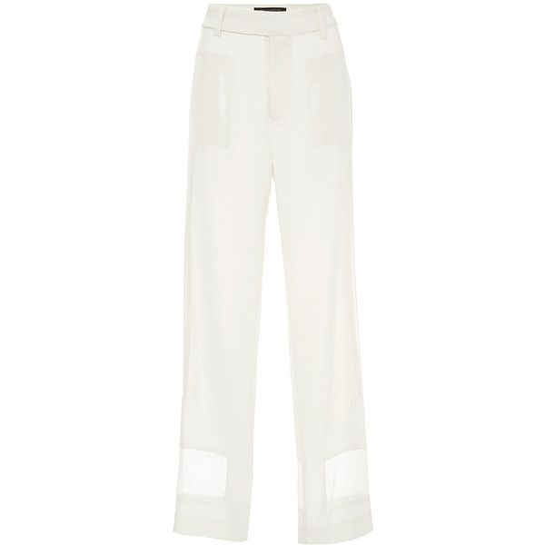 Sally LaPointe Matte Crepe and Chiffon Pants (54,495 PHP) via Polyvore featuring pants, sheer white pants, white chiffon pants, see through pants, white pants and sheer pants