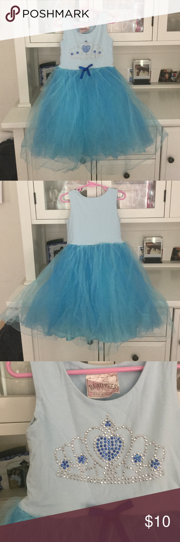 Princess blue dress with tulle skirt Super cute dress! Top is comfortable tee shirt material.. bottoms is PUFFY tulle.. her highness awaits... small hole on tulle around waist.. see pic.. price adjusted Beautees Dresses