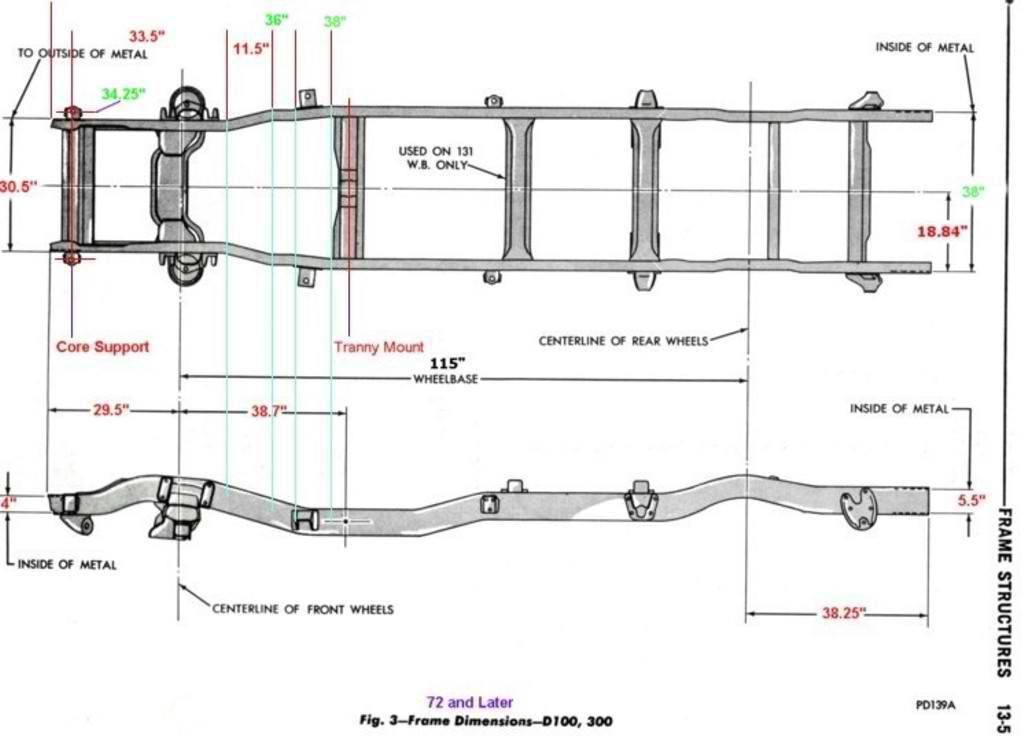 1946 chevy truck frame dimensions