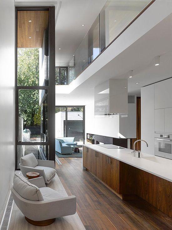 Appartement contemporain noir et bois Apartments, Models and - offene küche wohnzimmer abtrennen