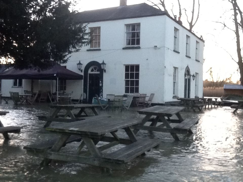 Completely surrounded by flood water, January 2014
