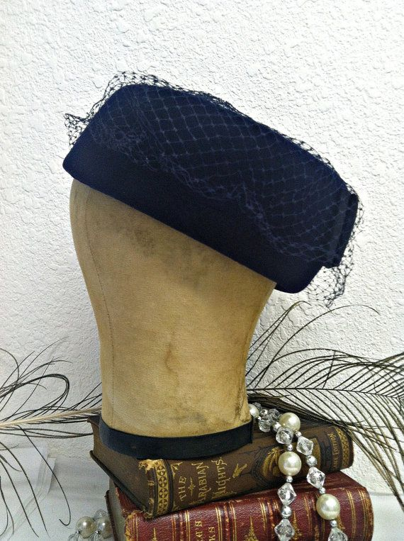 Vintage 1960s Hat 60s Pillbox Hat Black Veil black hat with polka ... bd4e12e61ab