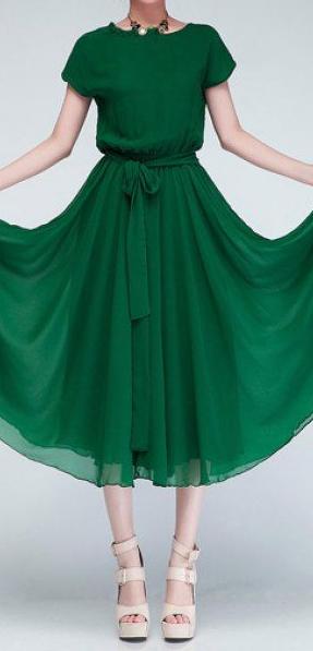 belted emerald dress #chiffonshorts