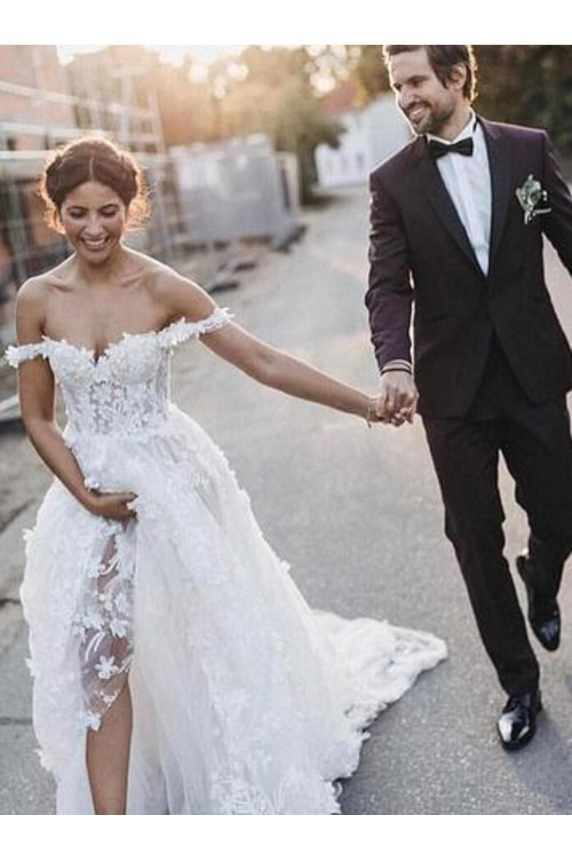 A-Line Off-The-Shoulder Boho Wedding Dress With Appliques US$ 229.00 BUKPS1QPKS4 – blackfridayprom.co.uk