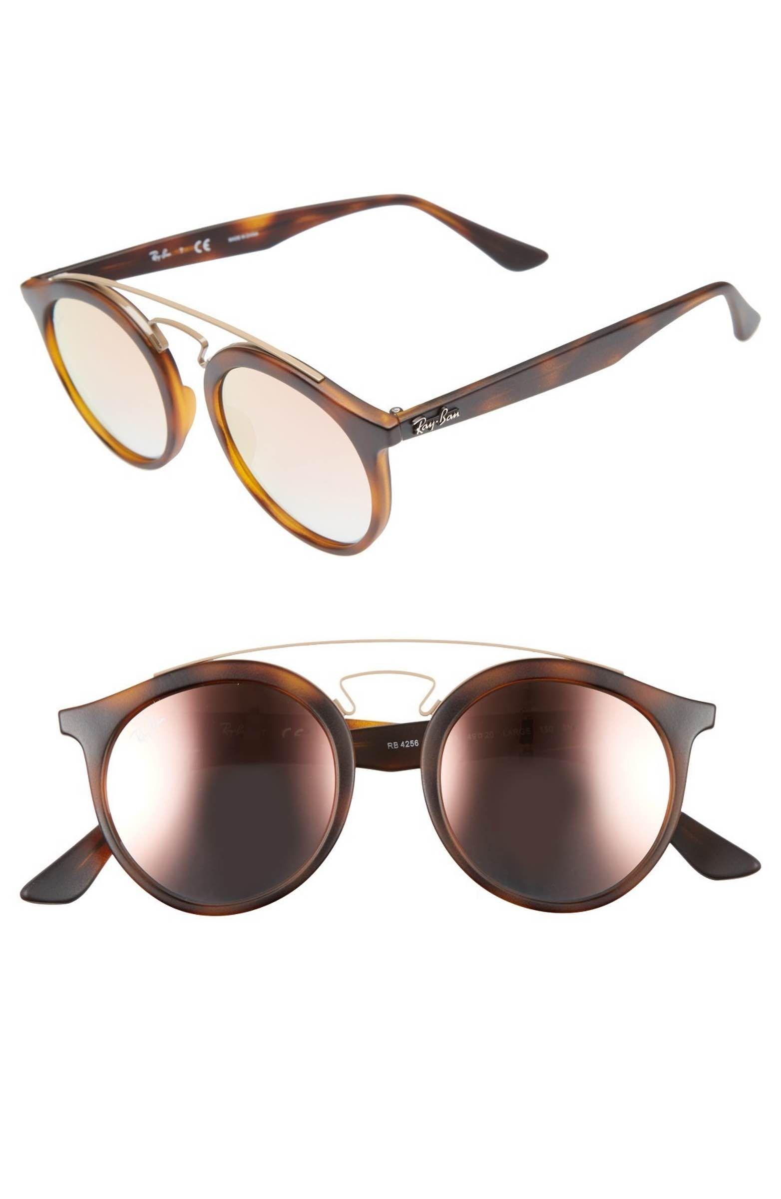 54a552f358 Main Image - Ray-Ban Highstreet 49mm Gatsby Round Sunglasses