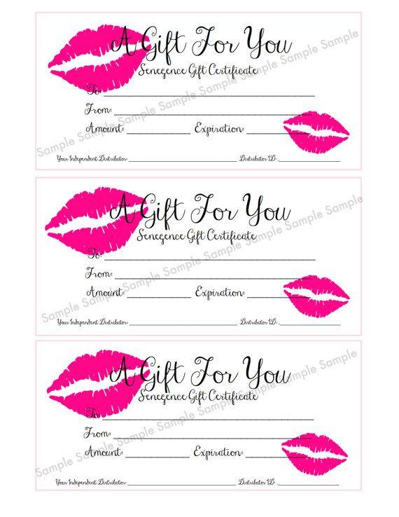 senegence lipsense gift certificate gift card by