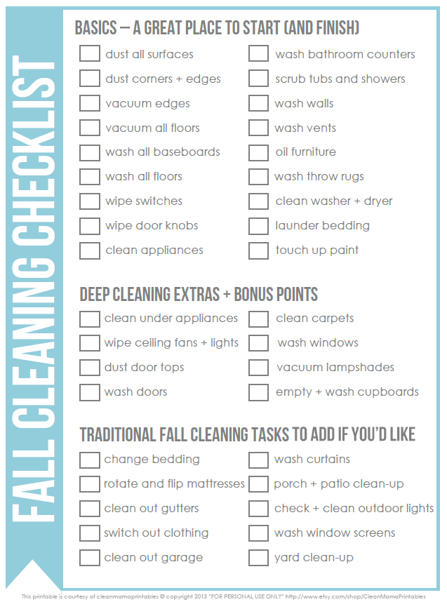 Free Fall Cleaning Checklist  Fall Cleaning Checklist Cleaning