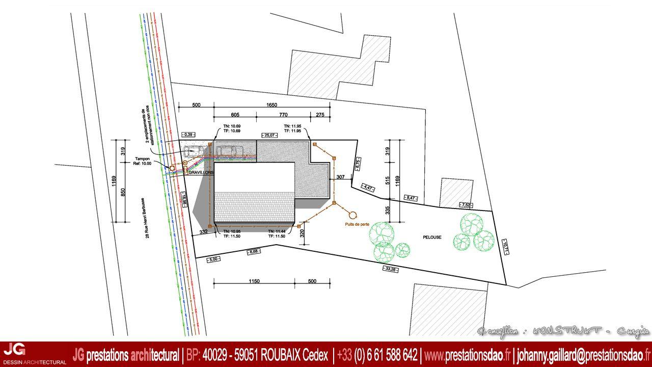 Jg dessin architectural plan masse pour permis de construire pcmi d une maison bbc b timent - Plan de masse d une maison ...