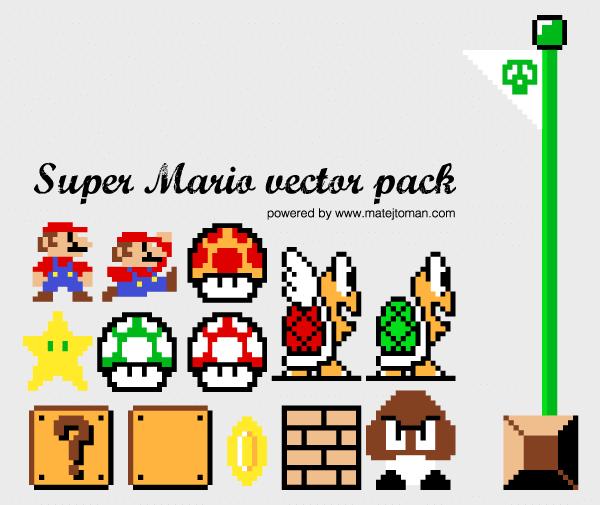 Super Mario Illustrator Pack Download Free Vector Art Super Mario Mario Free Vector Art