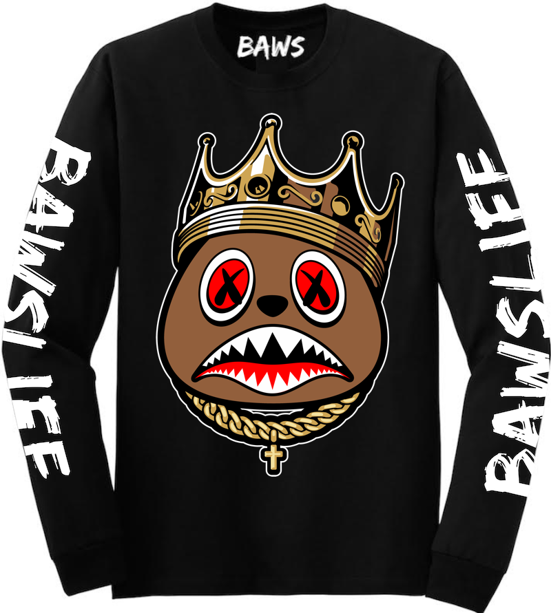 2ba1297d37e04 EAST BAWS Black Long Sleeve Shirt by Baws Clothing is available on our  online store. Sneaker Tees Shirts to match Air Jordan s and Foamposites ...