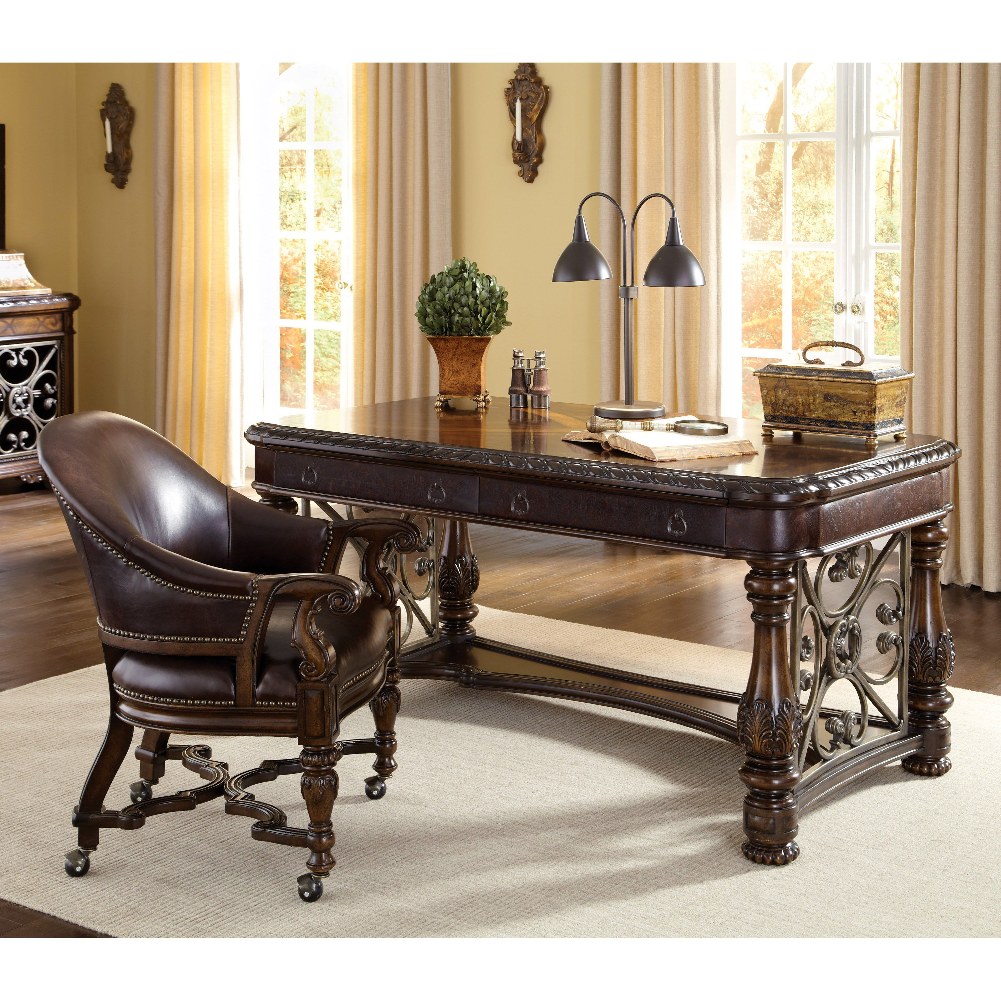 Old world writing desk desk design ideas like the desk not chair into leather a r t furniture gumiabroncs Choice Image