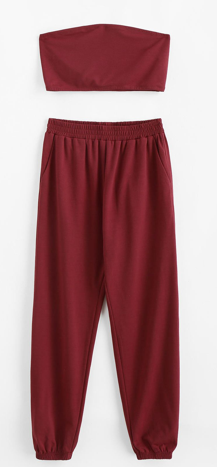 Bandeau Pocket Two Piece Sweat Jogger Pants Set Red Wine Two Piece Outfit Simple Summer Outfits Crop Top Outfits