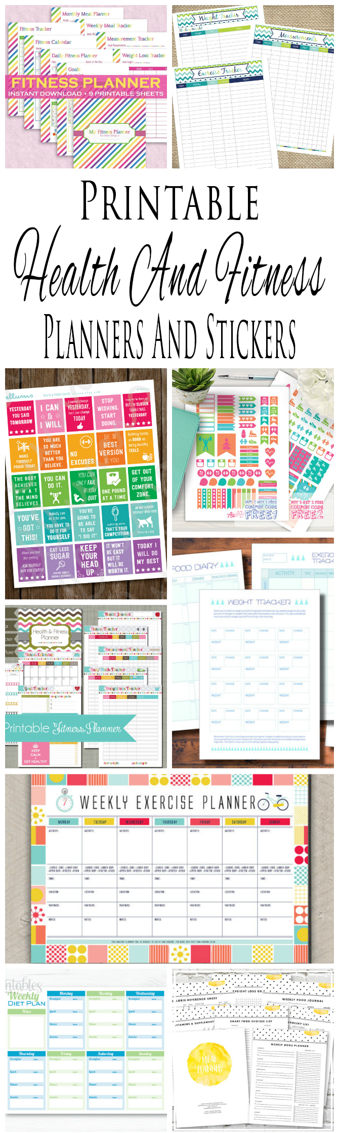 Printable Health And Fitness Planners And Printable Planner Stickers ...