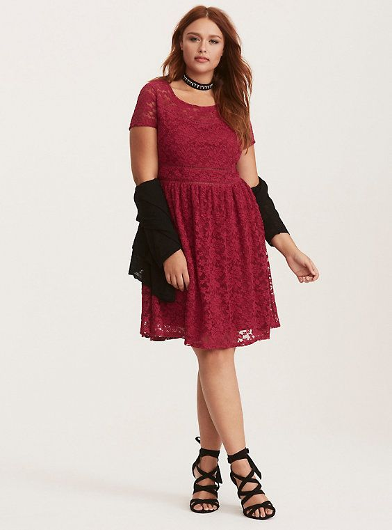 bbc238b7d8 Plus Size Berry Red Lace Scoop Skater Dress