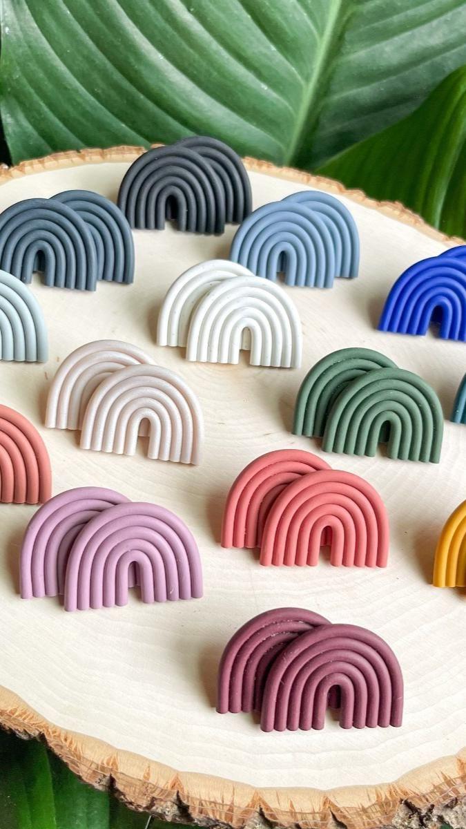 Side Rainbow Arch Polymer clay Earring