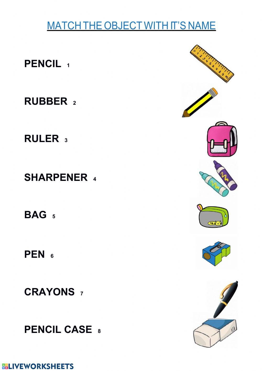 School objects Interactive worksheet   English lessons for ...