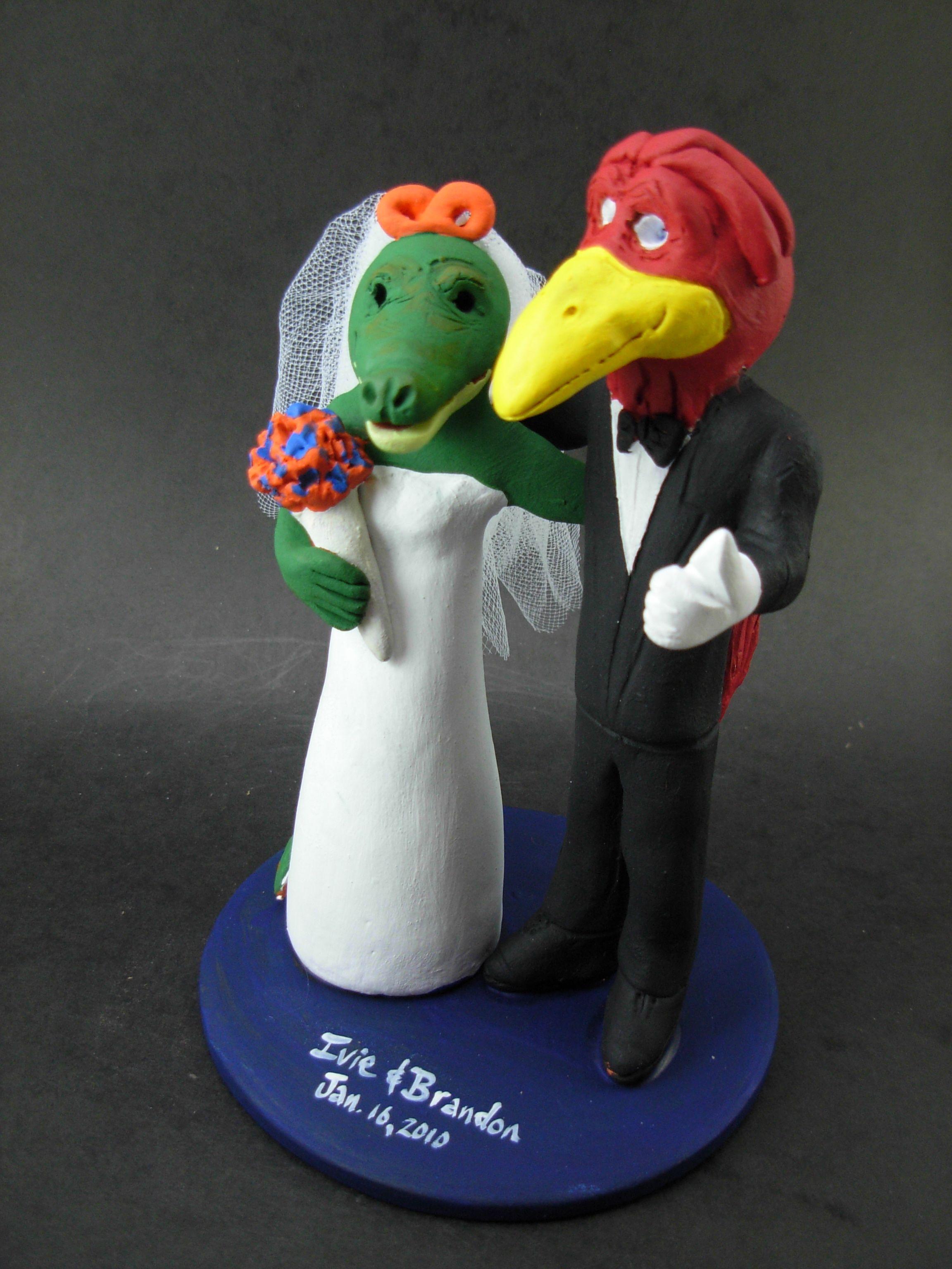 Custom made to order cardinal and alligator college mascot wedding