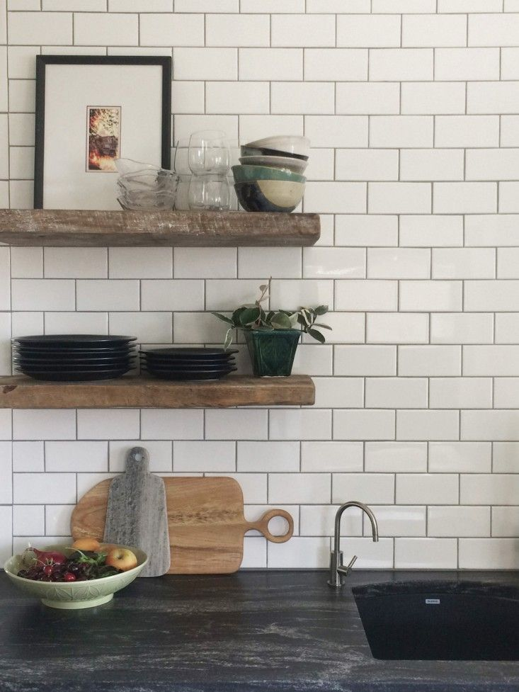 Soapstone Counters, Subway Tile With Dark Grout, Reclaimed Wood Shelves