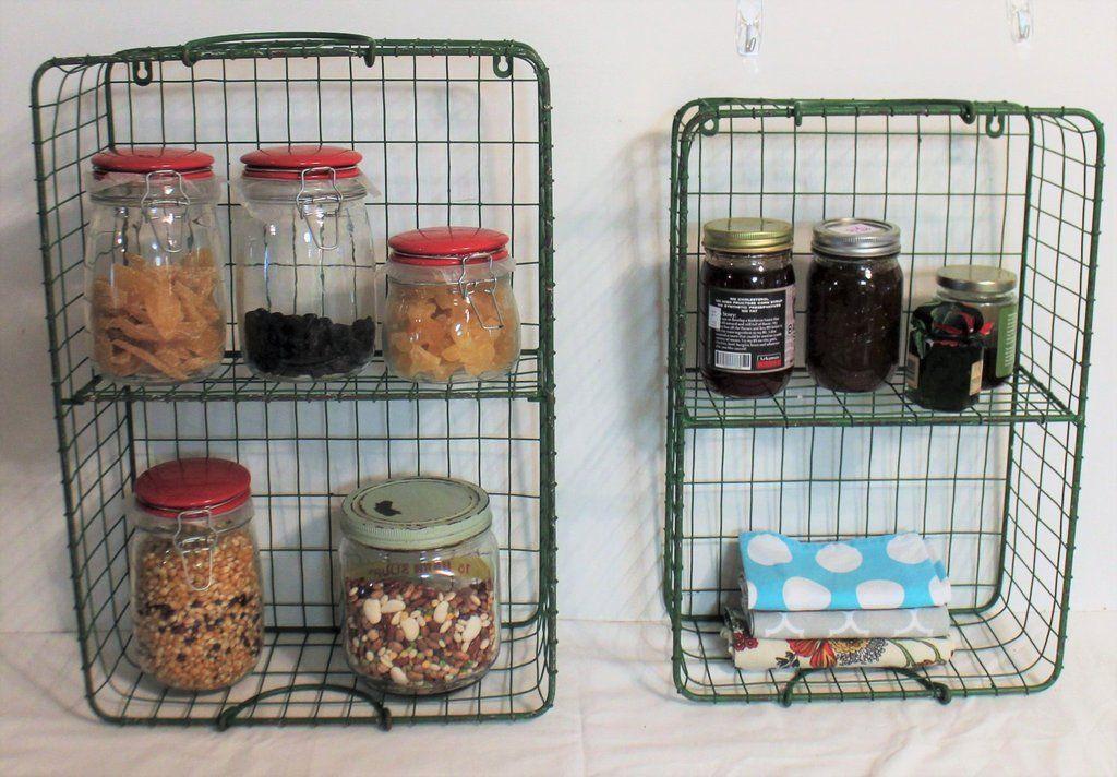 Glory & Grace Green Metal General Store Basket Shelves, Set of Two