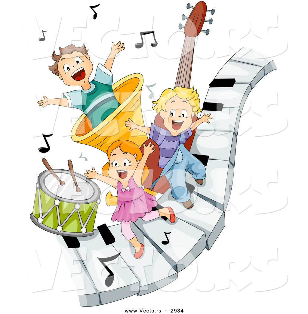 Vector Of Happy Cartoon Children Playing On Piano Keys With Music Notes And Instruments Happy Cartoon Music Notes Drawing Music Drawings