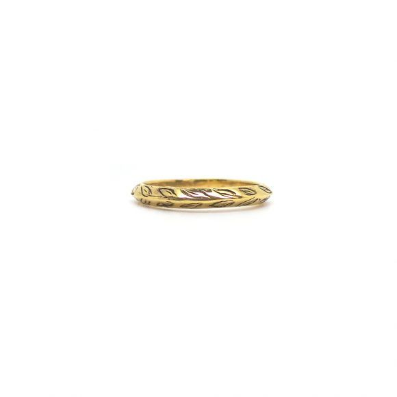 A ring of laurel is a symbol of victory and eternal devotion. Rustic and stackable. Unisex.  ♦ 18k Gold Plated Brass