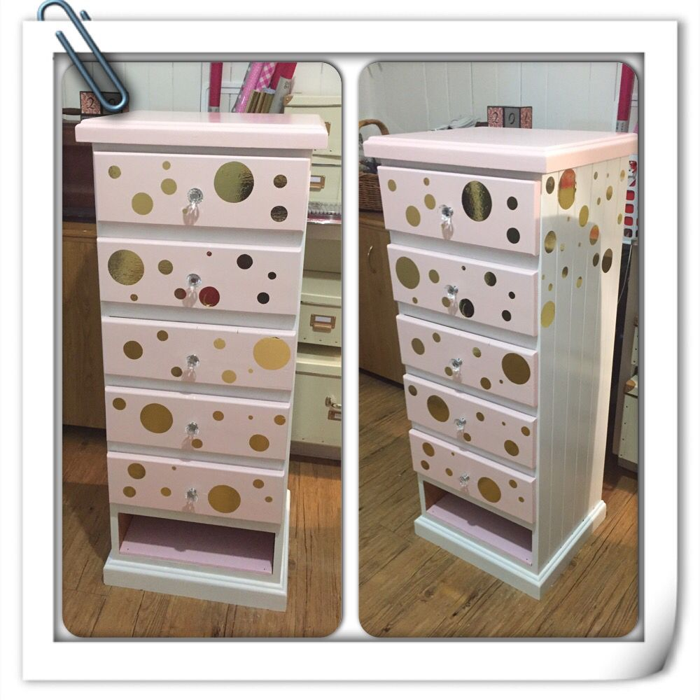 Girls dresser refurb - pink, white, gold polka dots, crystal knobs and a shoe closet at the bottom - fit for our little princess!