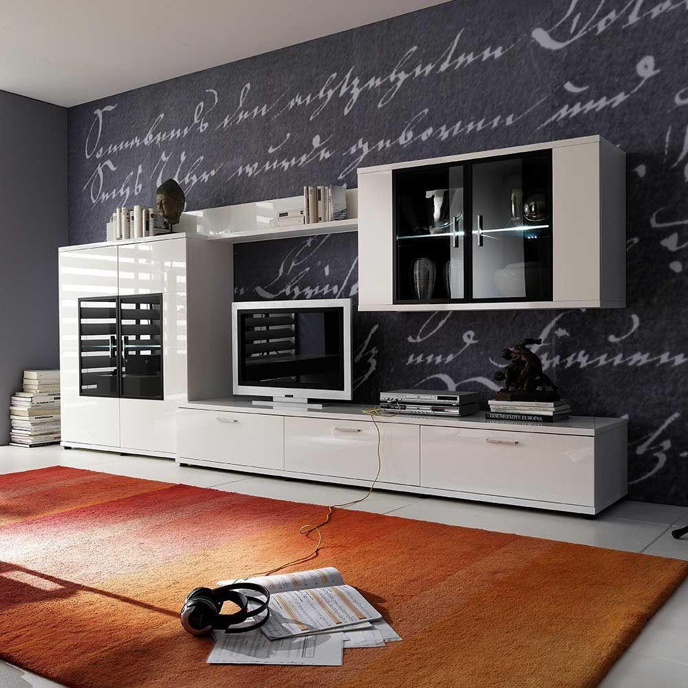 Design Wohnwand In Hochglanz Weiss Beleuchtung 4 Teilig Wohnzimmerschrank Wohnwandanbauwand