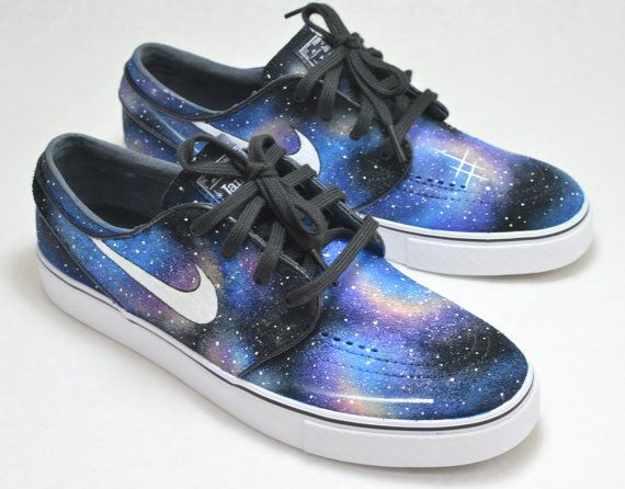 huge selection of 19bc1 dab81 Custom Hand Painted Shoes, Nike Zoom Stefan Janoski Galaxy Sneakers, Nike SB