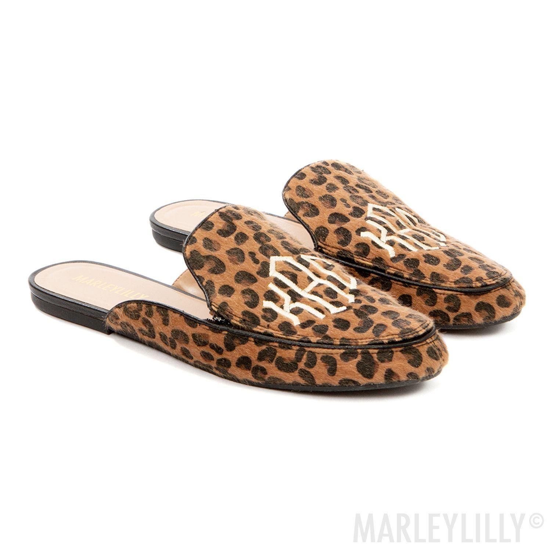 monogrammed leopard slide on loafers