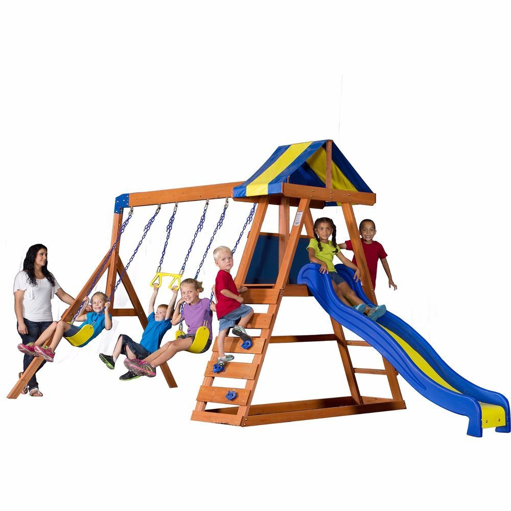 Wooden Swing Set Kids Outdoor Playground Backyard Slide Climbing ...